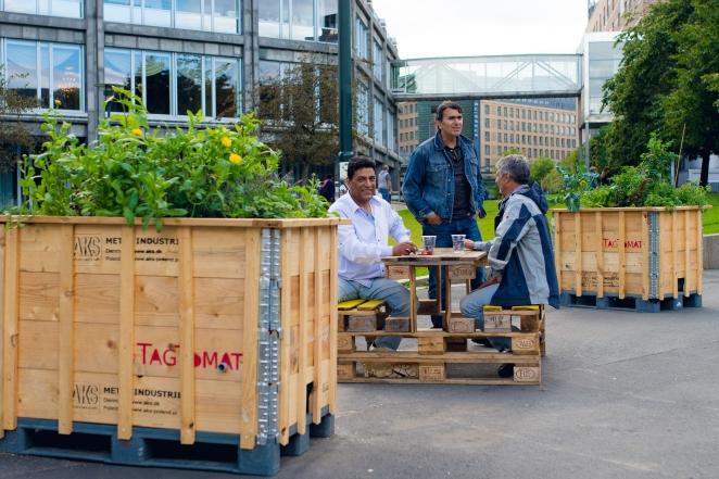 Dyrkeprosjektet Sjakkplassen på Vaterland er blitt et populært møtested blant naboer Foto Monica Løvdahl